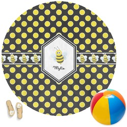 Bee & Polka Dots Round Beach Towel (Personalized)