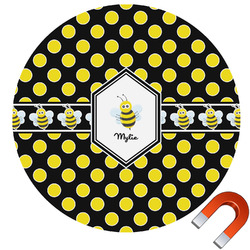 Bee & Polka Dots Round Car Magnet (Personalized)