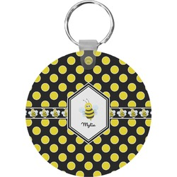 Bee & Polka Dots Round Keychain (Personalized)