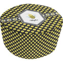 Bee & Polka Dots Round Pouf Ottoman (Personalized)