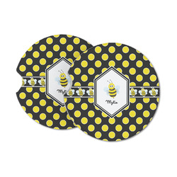 Bee & Polka Dots Sandstone Car Coasters (Personalized)