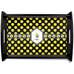 Bee & Polka Dots Black Wooden Tray - Small (Personalized)