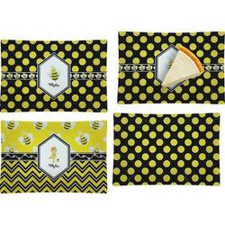 Bee & Polka Dots Set of 4 Glass Rectangular Appetizer / Dessert Plate (Personalized)