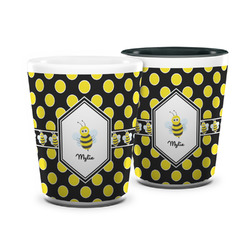 Bee & Polka Dots Ceramic Shot Glass - 1.5 oz (Personalized)