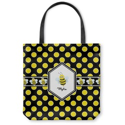 Bee & Polka Dots Canvas Tote Bag (Personalized)