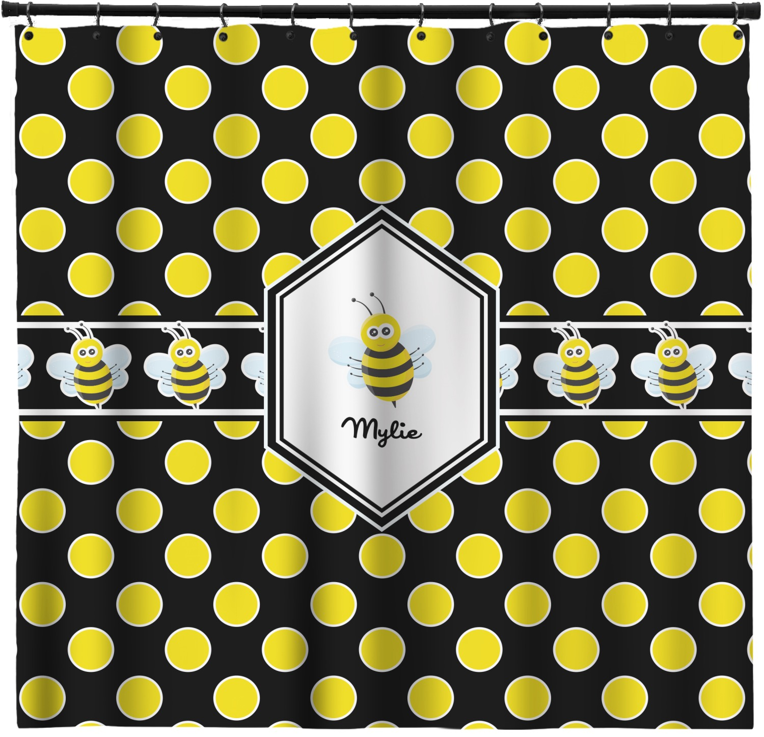 Bee Polka Dots Shower Curtain Personalized