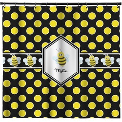Bee & Polka Dots Shower Curtain (Personalized)