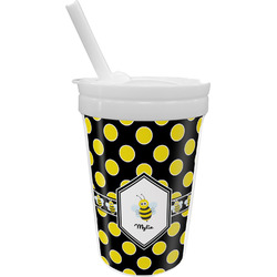 Bee & Polka Dots Sippy Cup with Straw (Personalized)