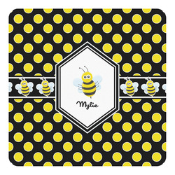 Bee & Polka Dots Square Decal (Personalized)