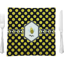 "Bee & Polka Dots Glass Square Lunch / Dinner Plate 9.5"" - Single or Set of 4 (Personalized)"