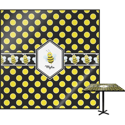 Bee & Polka Dots Square Table Top (Personalized)