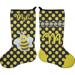 Bee & Polka Dots Holiday Stocking - Double-Sided - Neoprene (Personalized)