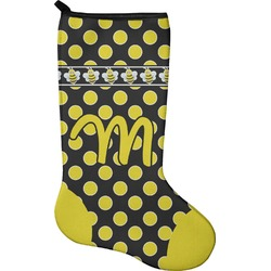 Bee & Polka Dots Christmas Stocking - Single-Sided - Neoprene (Personalized)