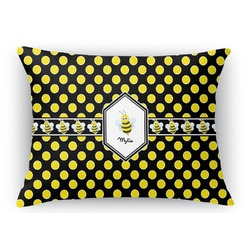 Bee & Polka Dots Rectangular Throw Pillow Case (Personalized)