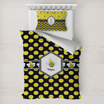 Bee & Polka Dots Toddler Bedding w/ Name or Text