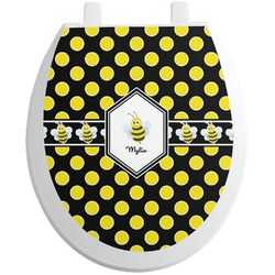 Bee & Polka Dots Toilet Seat Decal (Personalized)