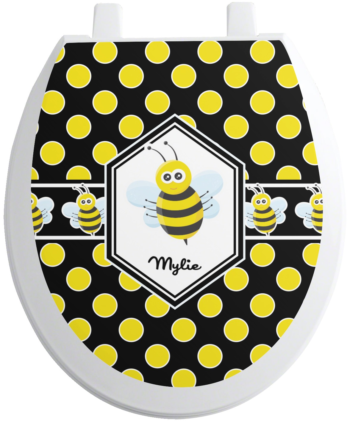 bee polka dots toilet seat decal round personalized. Black Bedroom Furniture Sets. Home Design Ideas