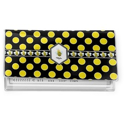 Bee & Polka Dots Vinyl Check Book Cover (Personalized)