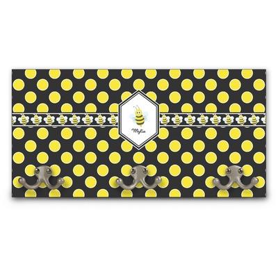 Bee & Polka Dots Wall Mounted Coat Rack (Personalized)