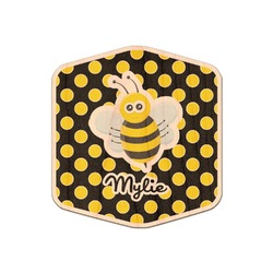 Bee & Polka Dots Genuine Wood Sticker (Personalized)