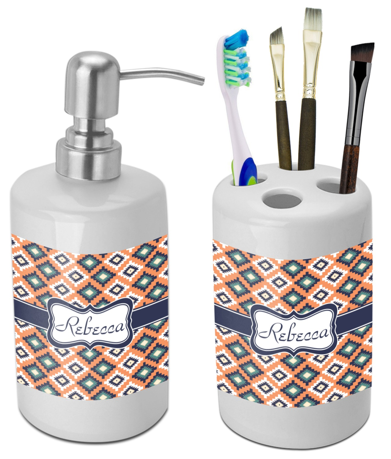 Tribal Bathroom Accessories Set (Ceramic) (Personalized ...