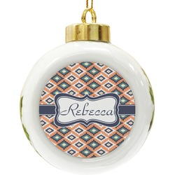 Tribal Ceramic Ball Ornament (Personalized)