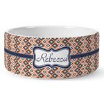 Tribal Ceramic Dog Bowl (Personalized)