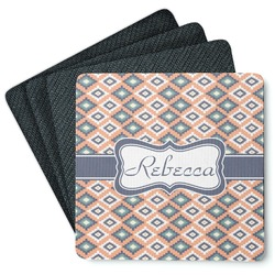 Tribal 4 Square Coasters - Rubber Backed (Personalized)
