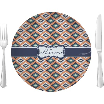 "Tribal 10"" Glass Lunch / Dinner Plates - Single or Set (Personalized)"