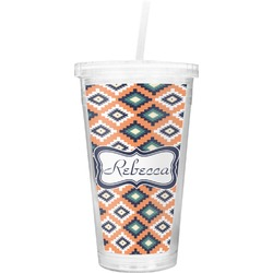 Tribal Double Wall Tumbler with Straw (Personalized)