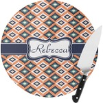 Tribal Round Glass Cutting Board (Personalized)