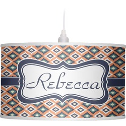 Tribal Drum Pendant Lamp Linen (Personalized)