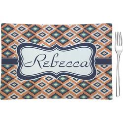 Tribal Rectangular Glass Appetizer / Dessert Plate - Single or Set (Personalized)