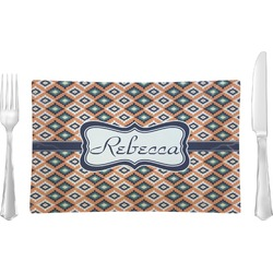Tribal Glass Rectangular Lunch / Dinner Plate - Single or Set (Personalized)