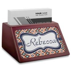Tribal Red Mahogany Business Card Holder (Personalized)