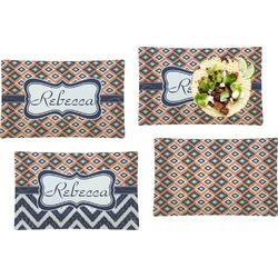 Tribal Set of 4 Rectangular Dinner Plates (Personalized)