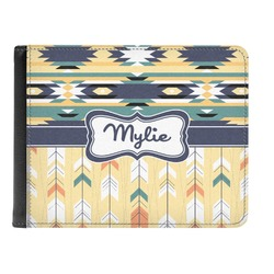 Tribal2 Genuine Leather Men's Bi-fold Wallet (Personalized)