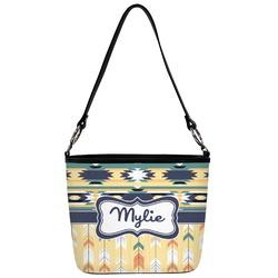 Tribal2 Bucket Bag w/ Genuine Leather Trim (Personalized)
