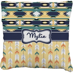 Tribal2 Faux-Linen Throw Pillow (Personalized)