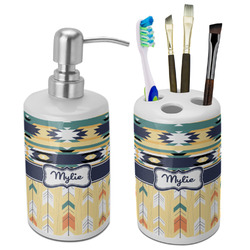 Tribal2 Ceramic Bathroom Accessories Set (Personalized)