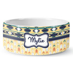 Tribal2 Ceramic Dog Bowl (Personalized)