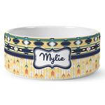 Tribal2 Ceramic Dog Bowl (Personalized)