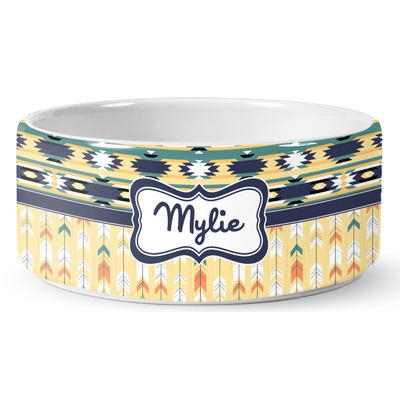Tribal2 Ceramic Pet Bowl (Personalized)