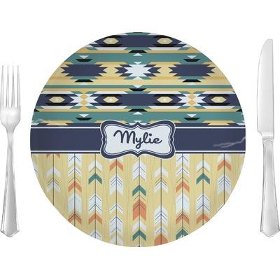 """Tribal2 10"""" Glass Lunch / Dinner Plates - Single or Set (Personalized)"""