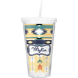 Tribal2 Double Wall Tumbler with Straw (Personalized)
