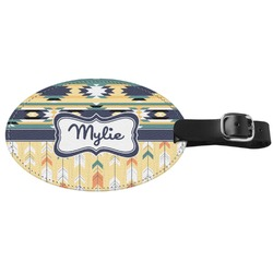 Tribal2 Genuine Leather Oval Luggage Tag (Personalized)
