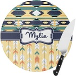 Tribal2 Round Glass Cutting Board (Personalized)