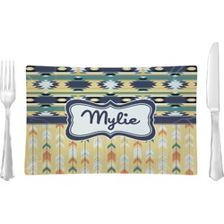 Tribal2 Glass Rectangular Lunch / Dinner Plate - Single or Set (Personalized)