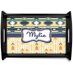 Tribal2 Black Wooden Tray (Personalized)