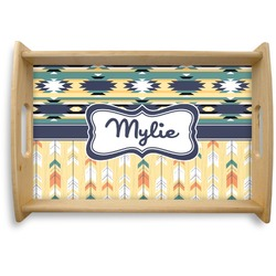 Tribal2 Natural Wooden Tray (Personalized)